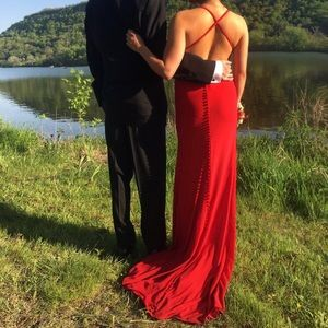 46a7a71c908 Jovani Dresses - Valentine Red Long Prom Dress With Open Back